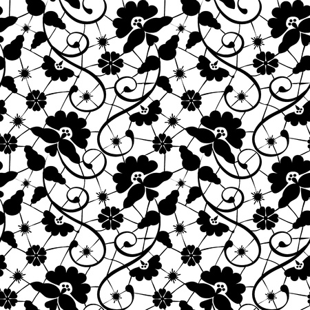 Black seamless lace pattern on white background Vector