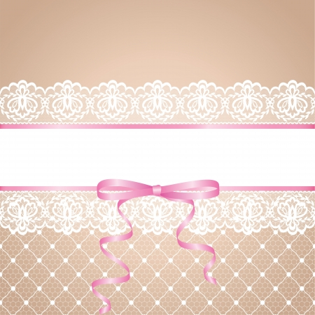 Garter of bride  Template for wedding, invitation or greeting card with lace background and pink ribbon  Illustration