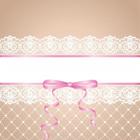 Kousenband van de bruid Template voor bruiloft, uitnodiging of wenskaart met kant achtergrond en roze lint