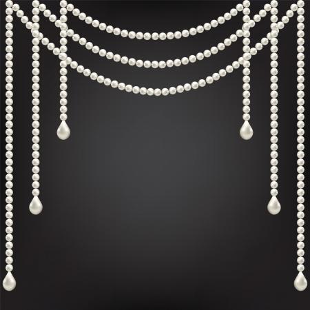 Schwarzer Hintergrund mit Perlen Dekoration Standard-Bild - 21570724