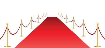 Red carpet and stanchion isolated on white Stock Vector - 21570725