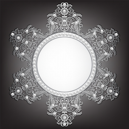 baroque pearl: Background with silver jewelry frame