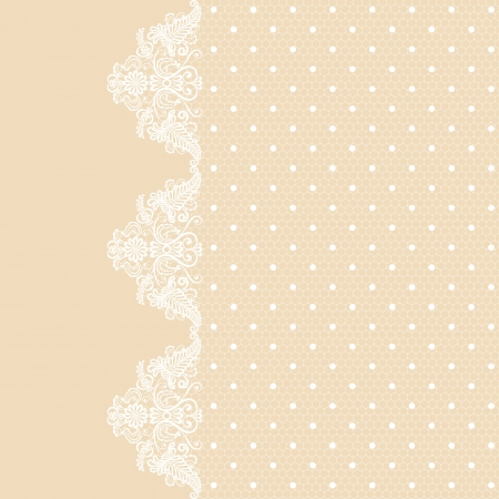 Template for wedding, invitation or greeting card with lace fabric background  Vector
