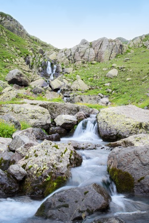 rill: Landscape with high mountain and rill flow