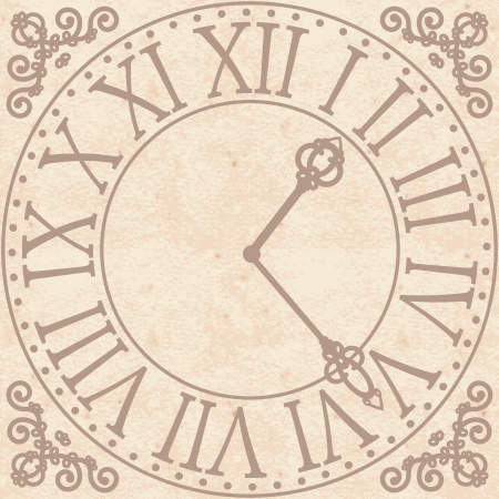 Vintage background with antique clock face  Vector