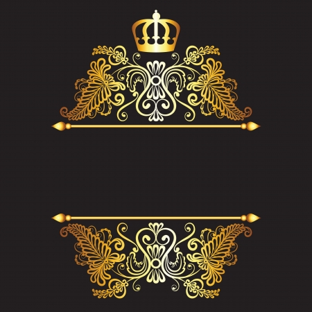 royal invitation: Royal pattern with crown  on dark background