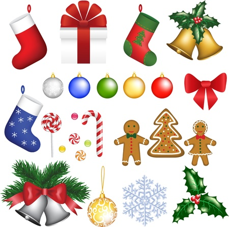 Baubles, holly berry, tree, bells, socks, snowflake, gift, bow, cookies, candies, sugar cane and sweets   Vector