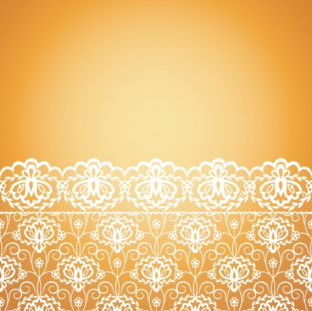 Template for wedding, invitation or greeting card with lace fabric background  Stock Vector - 21570942