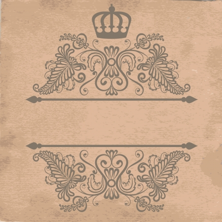 royal frame: Vintage royal frame template on old paper Illustration