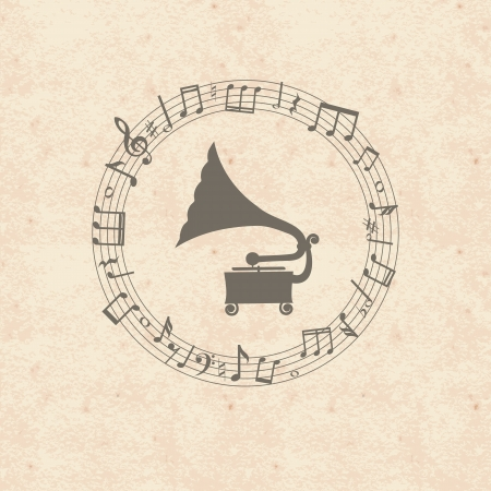 gramophone: Old wintage grunge music paper card with notes frame and gramophone