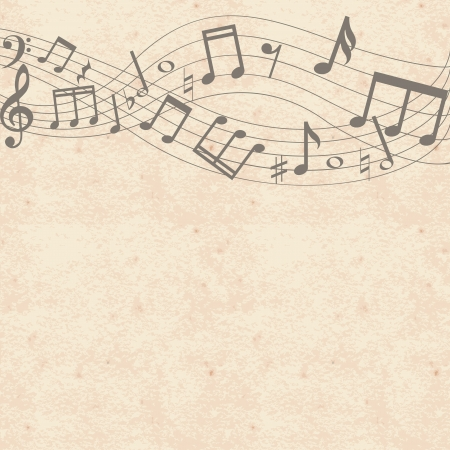 Vintage grunge paper background with music notes