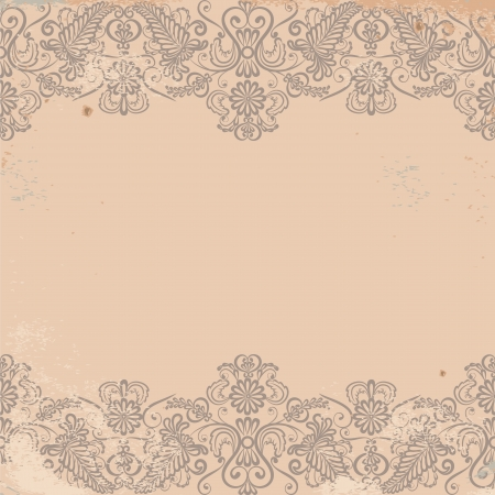 lace border: Vintage card with lace border on grunge background