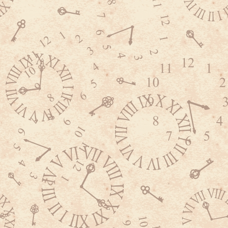 Seamless grunge  background with vintage clock face Vector