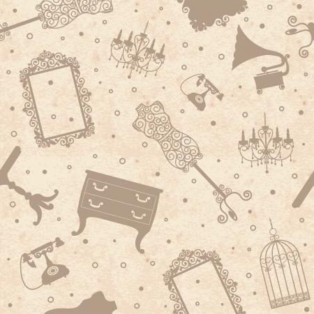 гардероб: Старый урожай бумага фоне гранжа с антикварной мебелью, бесшовный фон Иллюстрация