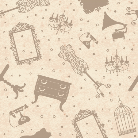 OLd vintage grange paper background with antique furniture, seamless pattern Vector