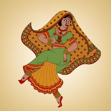 музыка: Индийская женщина танцора танцы Иллюстрация