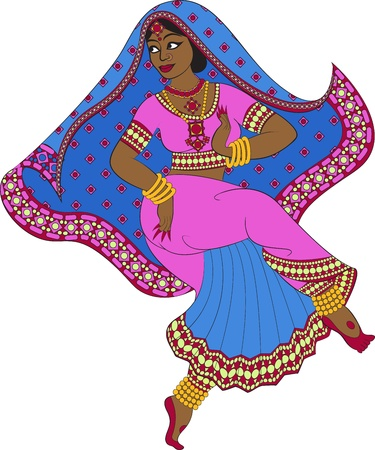 Indian woman dancer dancing Vector