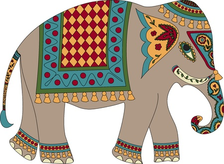 india culture: Stylized patterned elephant in Indian style