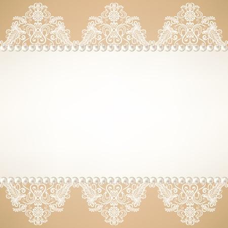 perlas: Plantilla para la boda, invitación o tarjetas de felicitación con fondo de tela de encaje con perlas