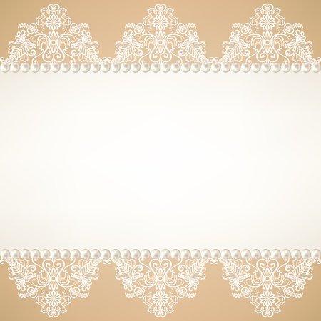 Template for wedding, invitation or greeting card with lace fabric background with pearls Vector