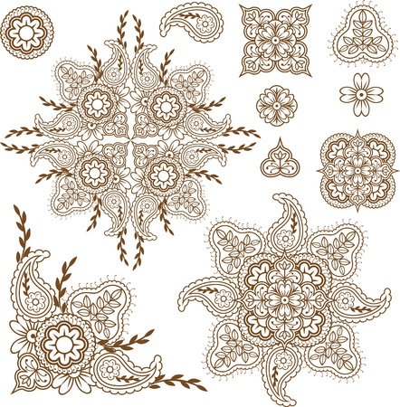 Henna mehndi abstract floral paisley design elements set Vector