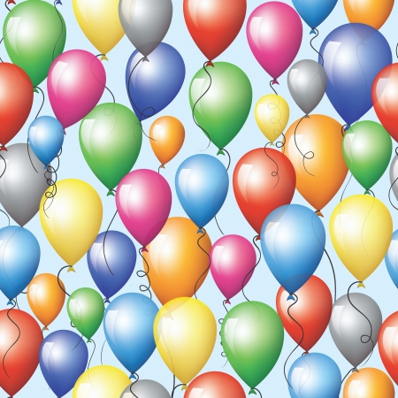 Seamless background with colorful balloons flying in sky  Illustration