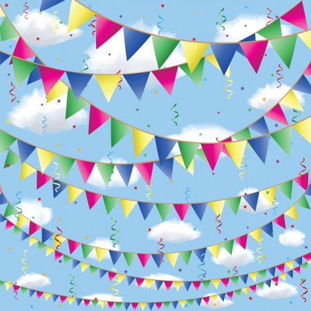 Background with bunting flag decorations in sky