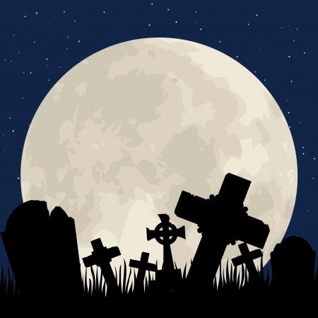 moody sky: Spooky cimitero di Halloween con il cimitero e la luna Vettoriali