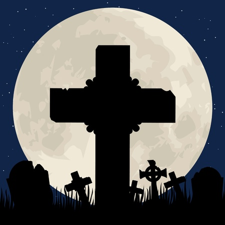 Spooky Halloween cemetery with graveyard and moon Illustration