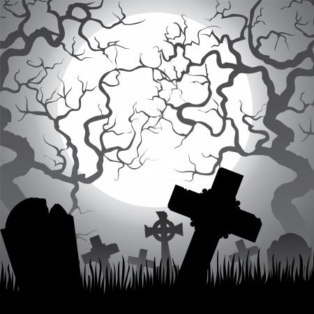 Cementerio fantasmagórico de Halloween con el cementerio, árboles, niebla y la luna