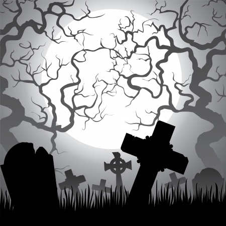 spooky graveyard: Spooky Halloween cemetery with graveyard, trees, fog and moon Illustration