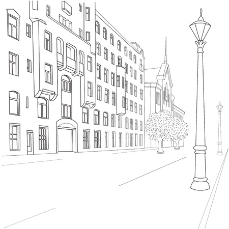 Outline sketch of european city street