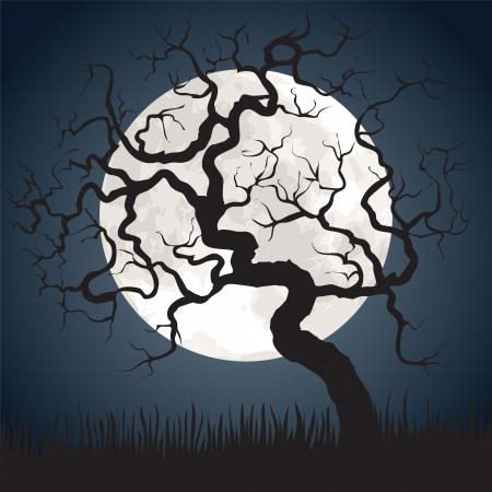 gruselig: Halloween spooky scary Hintergrund mit Vollmond und knorrigen Baum Illustration