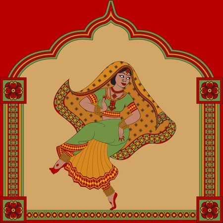 kuchipudi: Background with Indian woman dancer dancing and pattern frame