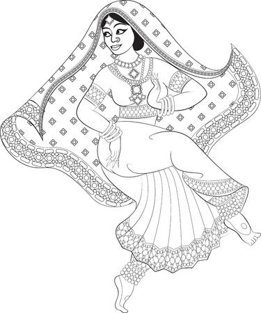 kuchipudi: Sketch of indian woman dancer dancing