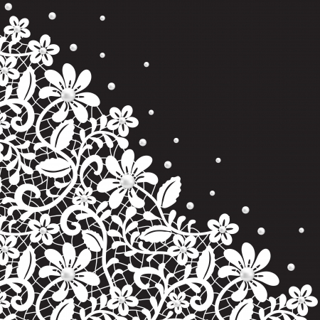 Pearl and lace border on black background  向量圖像