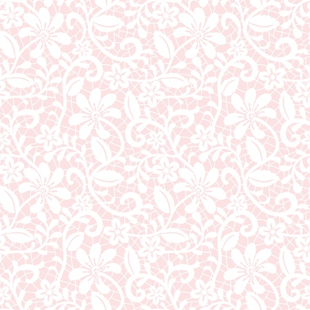 tights: Seamless white floral lace pattern on pink background Illustration