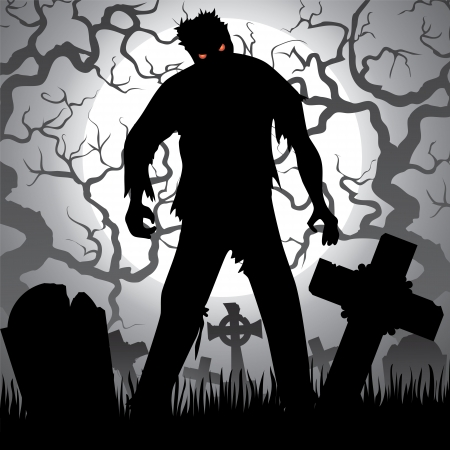 Halloween background with zombie, tree, tombstones and the moon on the cemetery Vector