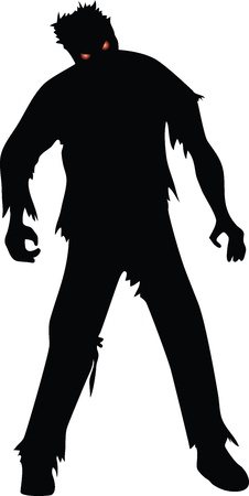 Zombie black silhouette isolaed on white Vector