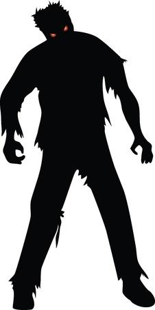 Zombie silueta negro isolaed en blanco