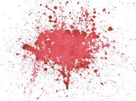 spattered: Splattered red blood watercolor isolated on white Illustration