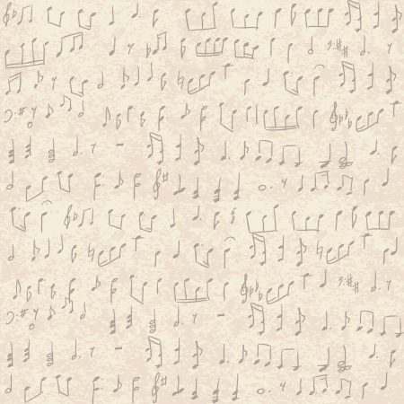 Seamless vintage grunge background with handwritten musical notes  Vector