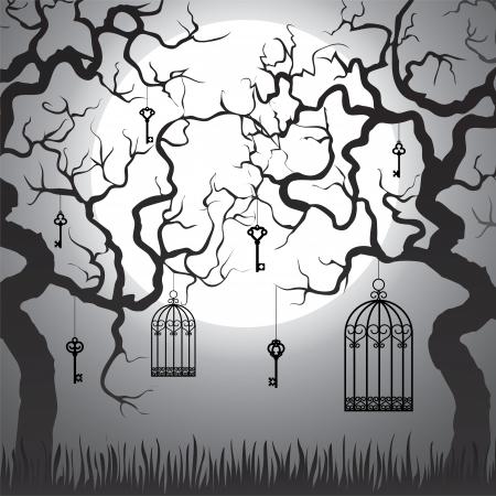 gnarled: Bosque encantado con �rboles retorcidos y jaulas en la noche de Halloween Vectores