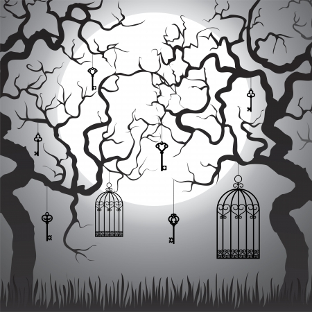 Enchanted forest with gnarled trees and cages at Halloween night Illustration