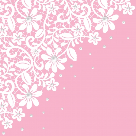 white lace: Pearl and lace border on pink background
