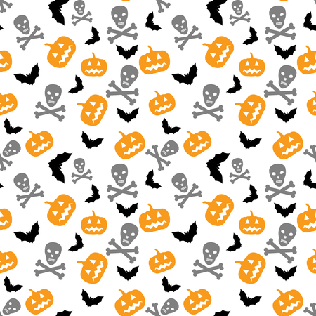 Seamless Halloween background with pumpkins, bats and skull Vector
