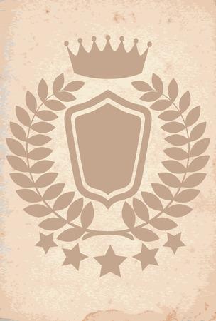 Royal heraldic emblem on old paper Vector