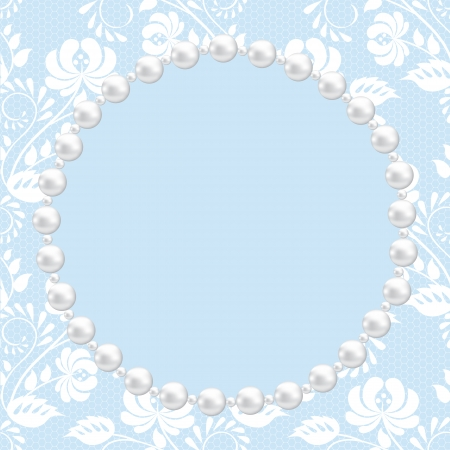 Template for wedding, greeting or invitation card with lace and pearl frame Vector