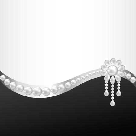 真珠のブローチの装飾と黒の背景