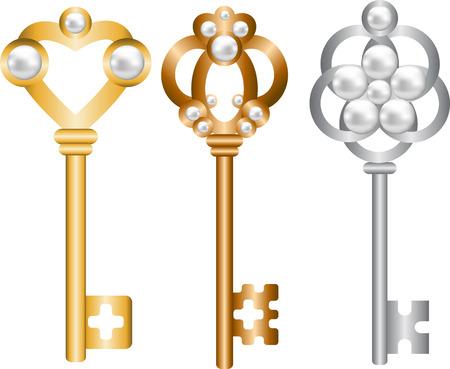 Juego de llaves maestras antiguas con perlas Foto de archivo - 22553324